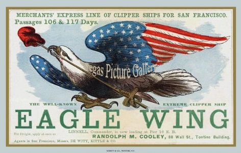 Fine art print of Ship Advertisement of the Clipper Ship - Eagle Wing (Advert)